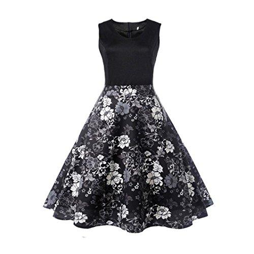 Damen Sommerkleider Frauen Dress Vintage Abendkleid Ärmelloses Skaterkleid -