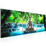 Wandbild Buddha Wasserfall Bilder 120 x 40 cm Vlies - Leinwand Bild XXL Format Wandbilder Wohnzimmer Wohnung Deko Kunstdrucke Blau 3 Teile - MADE IN GERMANY - Fertig zum Aufhängen 503533b