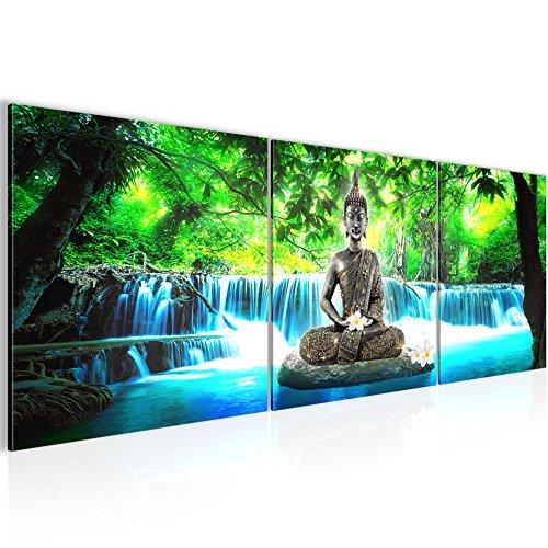 Photo Cascade de Bouddha Décoration Murale 120 x 40 cm Toison - Toile Taille XXL Salon Appartement Décoration Photos d'art Bleu 3 Parties - 100% MADE IN GERMANY - prêt à accrocher 503533b