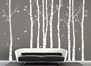 Vinyl Groß Weiß Birke Baum Wand Aufkleber Baum Aufkleber