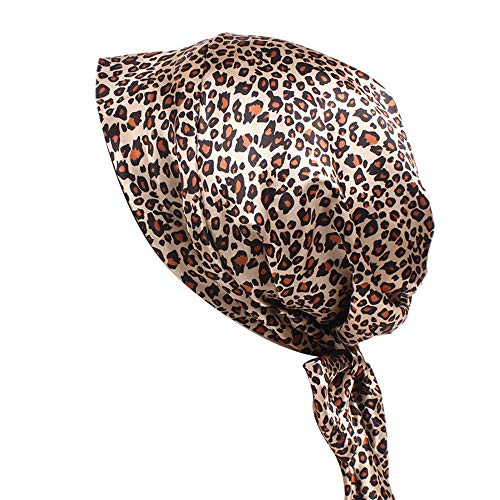 Gudelaa Frauen Satin gedruckt Turban Cap Sleeping Cap Seide Krebs Chemotherapie Hüte Long Tailed Braid Hut Leopard drucken Leopard Satin Hut