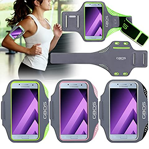 For Samsung Galaxy A3(2017) Sports Armband, Green Sweat-Free,Gym,Running,Jogging,Walking,Hiking,Workout and Exercise