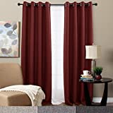 TOPICK Faux Linen Room Darkening Curtains for Bedroom/84 inch Long Moderate Blackout Curtain in Burgundy Red, 2 Panels