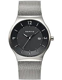 Bering Time  Solar - Reloj de cuarzo para hombre, con correa de acero inoxidable, color plateado