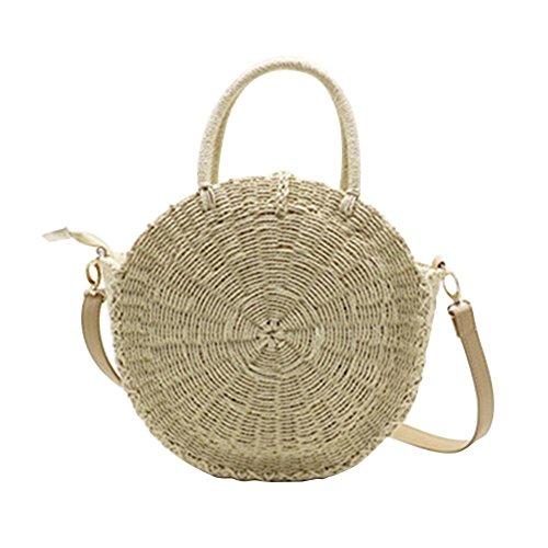 Bolsa redonda ratán bolsa de bolsa de playa redondo Mujer Paja Bolso Bandolera Playa Redondo pajita portátil de viaje vacaciones ideal regalo para mujer fille-fancylande, blanco
