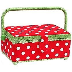 Prym Cesta de coser con lunares y ribete verde lima, algodón, color rojo y blanco, tamaño pequeño