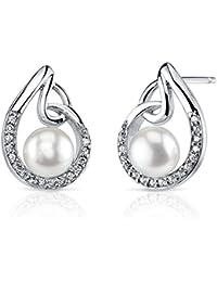 Revoni Bague en Artistique 6,5mm d'eau douce blanc perle Boucles d'oreilles en argent sterling