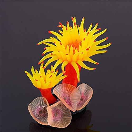 LIPETLI Silikon Korallen Aquarium Dekoration Harz Korallen Aquarium Pflanze Ornament Geeignet für Fische und Leben im Wasser,Gelb