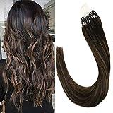 """LaaVoo 22"""" Boucle Micro Anneau Droit Extensions de Cheveux Humains Ombre Balayage Couleur Darkest Brown Mélangé Avec Brun Clair Brazilian Micro Loop Ring Extension 50G/50S(#2/8/2)"""