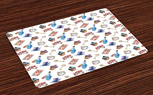 ZZHOO Alice in Wonderland Place Mats Set of 4,Cupcakes Mushrooms and Bottles Hanging in Sky Magical Dessert Print,Washable Fabric Placemats for Dining Room Kitchen Table Decoration,Multicolor Butterfly Cupcake Pan