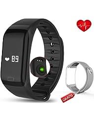 Fitness Armband mit Pulsmesser - AUQIEN F1 Fitness Tracker, Wasserdichte IP 67 Sportuhr, Aktivitätstracker Schrittzähler Kalorienzähler Fitness Uhr mit einem Ersatzarmband für iOS und Android