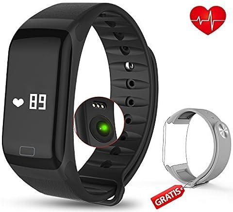 Fitness Armband mit Pulsmesser - AUQIEN F1 Fitness Tracker, Wasserdichte IP 67 Sportuhr, Aktivitätstracker Schrittzähler Kalorienzähler Fitness Uhr mit einem Ersatzarmband für iOS und Android (schwarz-grau)