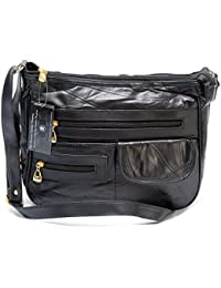 7341f913f65b Lady s Real Leather Shoulder Bag in Black Soft Smooth Designer Cross Body  Handbag with Real Purse