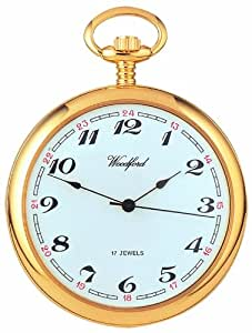 Woodford Mechanical Open-face Pocket Watch, 1031, Men's Gold-Plated Arabic Dial with Chain (Suitable for Engraving)