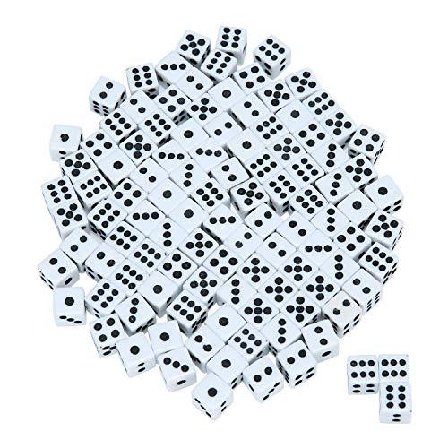 x 16 mm sechsseitige Würfel aus Acryl, weiß und schwarz, ABS, schwarz/weiß, 0.8cm/0.3inch ()
