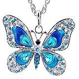 Azul - Collar - Mariposa - Strass - Grande - Largo - Color plata - Mujer - Niña - Idea de regalo - Día de San Valentín