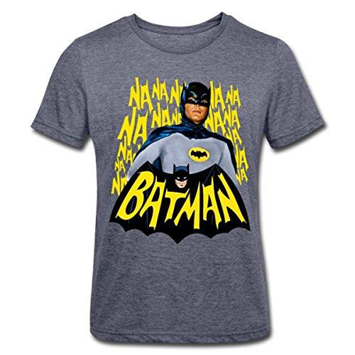 Spreadshirt DC Comics Batman Retro Schauspieler Titelsong Männer Polycotton T-Shirt, L, Navy meliert