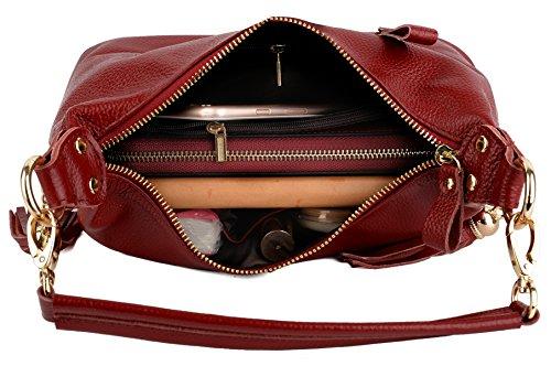 Yaluxe Donna doppio Cernieraed Tascas pelle Top Handle Borsetta Cross Body Borse a tracolla piccolo Borse Rosso