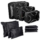 Navaris Koffer Packtaschen Set 9-teilig - Kleidertaschen Schuhbeutel Wäschebeutel Reise Gepäck Organizer - Travel Packing Cubes Schwarz Weiß