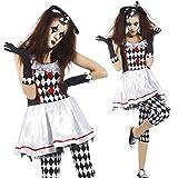Maboobie - Disfraz de arlequín Fever para mujer Adulto Fiestas Temáticas Carnavales Halloween (Talla M)