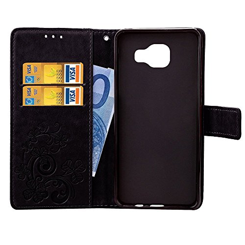 Meet de Trèfle chanceux gaufrage Folio Case pour Apple iphone 5C PU Housse / Wallet / flip étui / Pouch / Case / Holster / Wallet / Case / en cuir Wallet Style de couverture de cas Coque pour téléphon noir