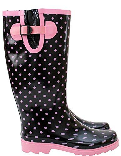 Mädchen Footwear amp;h Wellies pink Kinder Damen Festival A Unisex Arbeits Spots gummistiefel Black waxIU6