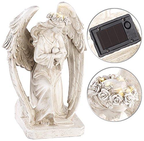 Lunartec Engel: Kniende Solar-LED-Schutzengel-Figur, 24,5 cm, für innen & außen (Grabschmuck)
