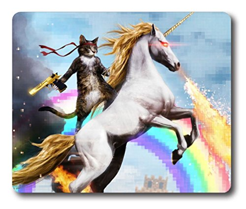 Cat Riding a Fire Breathing Unicorn Oblong Mouse Pad
