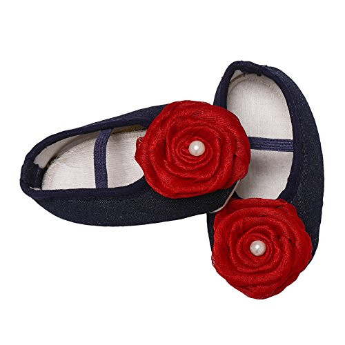 Daizy Baby Girls' Blue Cotton Booties in Denim Fabric with Red Flower- (3-6 months)