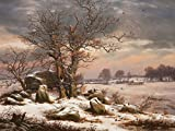 1art1 84783 Johan Christian Clausen Dahl - Winterlandschaft Nahe Vordingborg, 1829, 2-Teilig Fototapete Poster-Tapete 240 x 180 cm