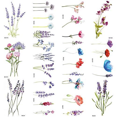 COKTAK 12 Blätter Aquarell Lavendel Blume Temporäre Tattoos FüR Frauen Körperkunst Arm Gefälschten Tätowierung Sblattaufkleber Des Erwachsenen Wasserdichtes MäDchen Tätowierungen Fuß Temporary