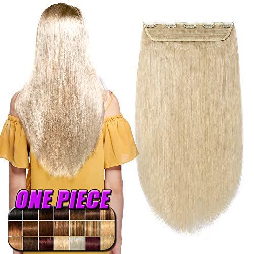 Clip in Extensions Echthaar Haarverlängerung Remy Echthaar 1 Tresse günstig Human Hair Haarverdichtung 50cm-95g(#60 Weißblond)