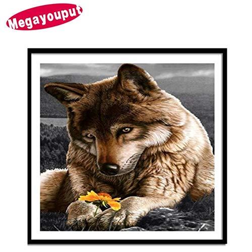 (Mr.shaohua 2017 DIY Diamond Painting Cross Stitch Wolf Picture Diamond Embroidery Animals Round Partial Home Decor Diamond Mosaic 30 * 30Cm 40X50Cm Hauptdekoration)