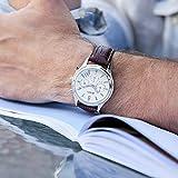 BUREI Chronograph Uhren weißes Zifferblatt Quarz-Armbanduhren mit kratzfesten Mineralglas-Linse braunes Lederband (Silber)