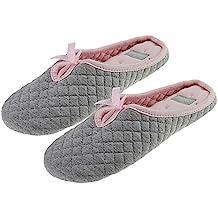 BXT Ladies Zapatillas de casa para mujer, algodón suave 100%, diseño con lazo, cálidas, gris
