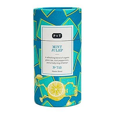 P & T Mint Julep, Master Blend de Thé Vert Bio en Vrac, Mélange de Thé Vert Chinois à la Menthe, au Citron et au Jasmin, Boîte Design (100g / 3,5oz)