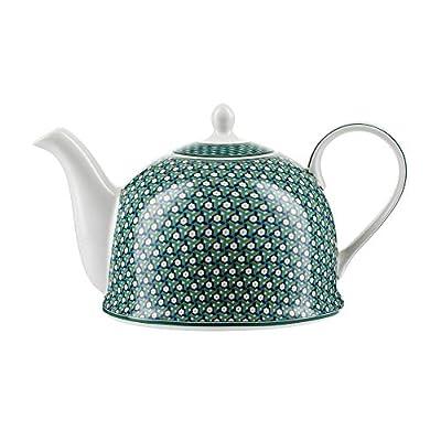 """Théière Igloo Jameson & Tailor/Théière de""""Fleurs vertes"""" / Cafetière en porcelaine brillante de 1200 ml/Convient aux lave-vaisselle et micro-ondes"""