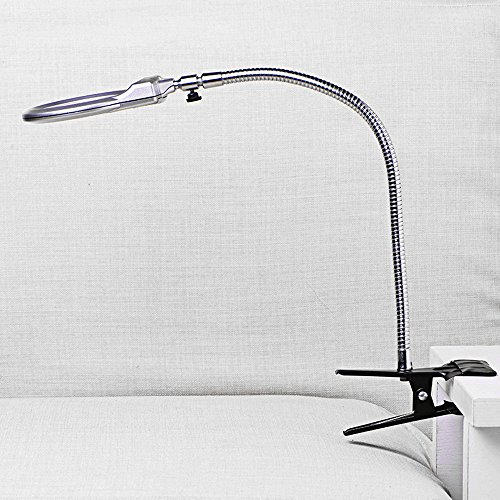 Enshey Tischlupenleuchte Beleuchtete Tischplatte Schreibtisch Lupe LED Licht Vergrößerungsglas mit Klemme