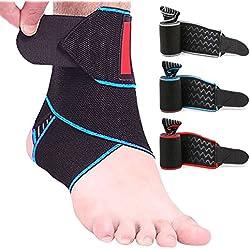 Knöchelbandage, SZPLUS Fußgelenkstütze Knöchelstütze elastisch Atmungsaktive Verstellbare Sprunggelenk Unterstützung für Kampfsport, Ballsport, Laufen usw.. (Blau)