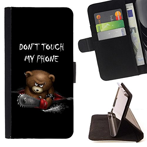 Kobe Diy Case / For Apple Iphone 5 / 5S Funny Don't Touch My Phone Bear Folio PU Wallert Leather Case