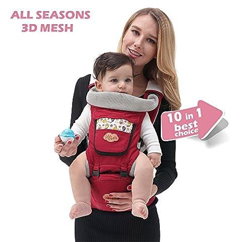 iSee Porte-bébé   10en 1sûr et moyens de transport confortable avec assise amovible Hip   mixte Couleur et taille unique   Coton/Spandex Confort Tissu   Meilleur bébé Registre Cadeau idéal   infinity 100% garantie