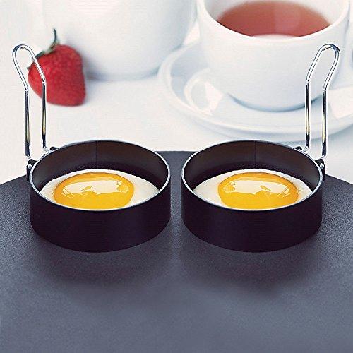 Jeeke 2Fried Egg Form Ring, Rund Ei Ringe Pancake Herd Aluminiumguss Eiertrenner für Braten Kochen, Weiß, 2PCS (Herd Ringe)