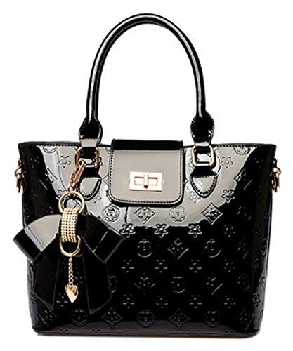 Oruil Mode-Handtasche mit Blumen-Design Handtasche Charme und Metall-Verschluss PU-Leder-Handtasche für Frauen (Schwarz) -