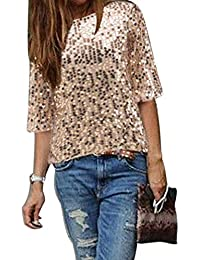 661d93fd61c1 iStary 2018 Mode Damen Sexy trägerloses Tshirt Kleid Rundhals Kurzarm  Elegante Langes Shirt Lose Boho Pailletten Chiffon Bluse…