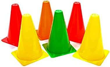 Arnav Plastic Pack of 6 Marker Cones (6 inch) for Soccer Cricket Track and Field Sports