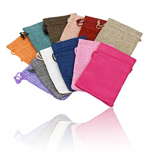 24 sacchetti in juta fatti a mano per Calendario dell'Avvento, 10 x 15 cm, 100% iuta, per gioielli, regali, matrimonio, Iuta colorata