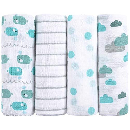 Mussola di ea & noah pacco da 4 100% cotone 80 x 80 bambina bavaglini comodi e soffici ideale come copertina neonato di stoffa pannolini lavabili