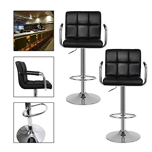 Hg® sgabello / sgabello da bar sgabello da cucina sdraio sedia da pranzo sgabello sgabello girevole bancone da cucina salotto similpelle club con schienale set di 2 nero
