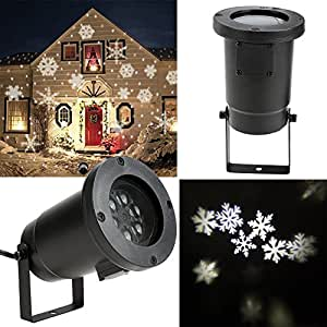 Homdox led lampe de neige lampe de projecteur lumi re ext rieur int rieur flocon de neige blanc for Projecteur sur maison pour noel