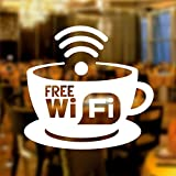 Free Wifi Tasse Fensteraufkleber Vinyl Aufkleber Grafik Cafe Geschäft Salon Bar Restaurant Frei W-lan